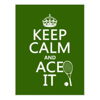Guarde la calma y Ace la el tenis en cualquier Postales