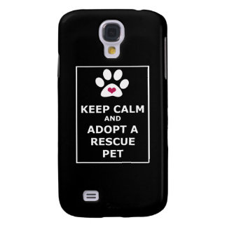 Guarde la calma y adopte a un mascota del rescate  funda para galaxy s4