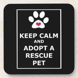 Guarde la calma y adopte a un mascota del rescate  posavaso