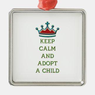 Guarde la calma y adopte a un niño ornamento de reyes magos