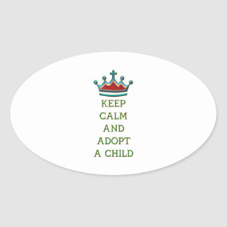 Guarde la calma y adopte a un niño calcomania de ovaladas