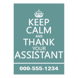 Guarde la calma y agradezca a su ayudante - en tarjetas de visita grandes