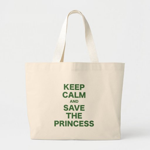 Guarde la calma y ahorre a la princesa bolsa tela grande