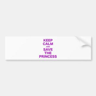 Guarde la calma y ahorre a la princesa pegatina para auto