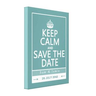 Guarde la calma y ahorre la fecha (completamente a impresión en tela