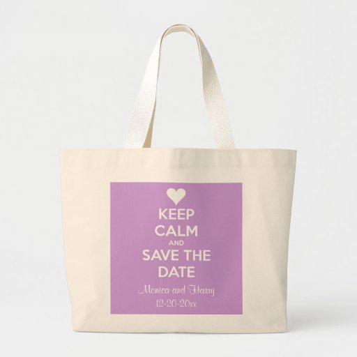 Guarde la calma y ahorre la lavanda de la fecha bolsa tela grande