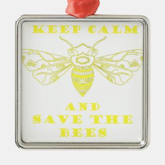 Guarde la calma y ahorre las abejas adorno navideño cuadrado de metal