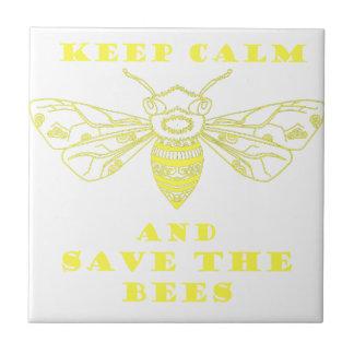 Guarde la calma y ahorre las abejas azulejo cuadrado pequeño