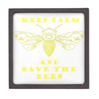 Guarde la calma y ahorre las abejas caja de joyas de calidad