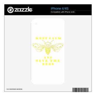 Guarde la calma y ahorre las abejas iPhone 4 calcomanía