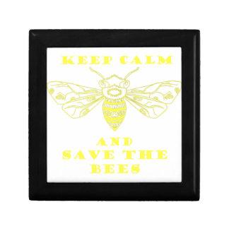 Guarde la calma y ahorre las abejas joyero cuadrado pequeño