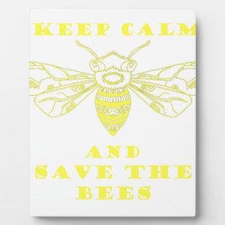 Guarde la calma y ahorre las abejas placas con fotos