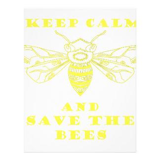 Guarde la calma y ahorre las abejas plantilla de membrete