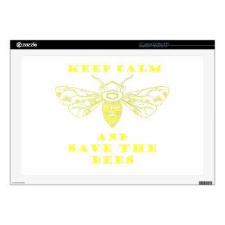 Guarde la calma y ahorre las abejas portátil calcomanías