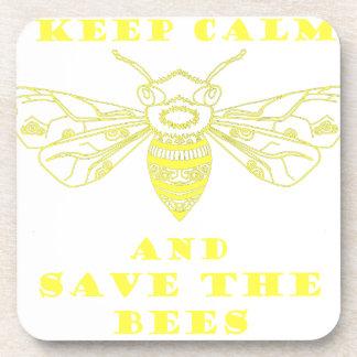 Guarde la calma y ahorre las abejas posavasos de bebida