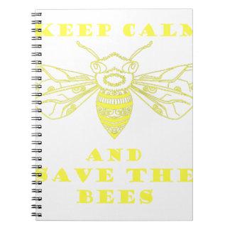 Guarde la calma y ahorre las abejas spiral notebooks