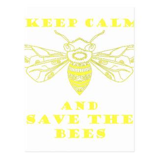 Guarde la calma y ahorre las abejas tarjetas postales