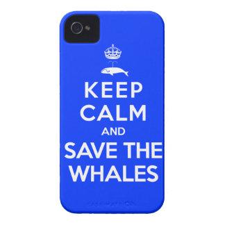 Guarde la calma y ahorre las ballenas iPhone 4 protector