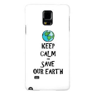 Guarde la calma y ahorre nuestra tierra funda galaxy note 4