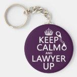 Guarde la calma y al abogado para arriba (cualquie llavero personalizado