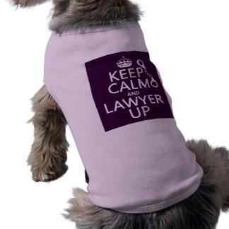 Guarde la calma y al abogado para arriba (cualquie playera sin mangas para perro