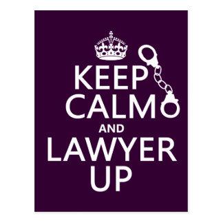 Guarde la calma y al abogado para arriba (cualquie tarjetas postales