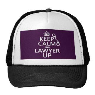 Guarde la calma y al abogado para arriba gorros bordados