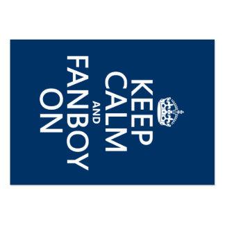 Guarde la calma y al Fanboy en (en cualquier color Tarjetas De Visita Grandes