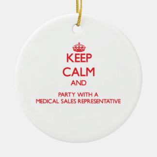 Guarde la calma y al fiesta con las ventas médicas adorno redondo de cerámica