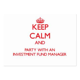 Guarde la calma y al fiesta con un fondo de invers tarjeta de visita