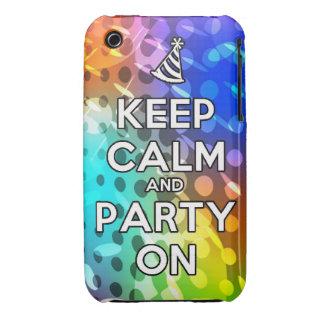 Guarde la calma y al fiesta en la diversión del Case-Mate iPhone 3 cobertura