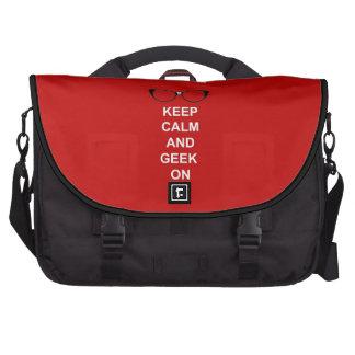 Guarde la calma y al friki encendido bolsa para ordenador