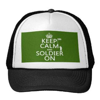 Guarde la calma y al soldado en (bandera gorros bordados