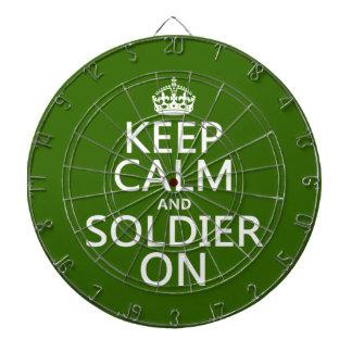 Guarde la calma y al soldado en cualquier color d tabla dardos