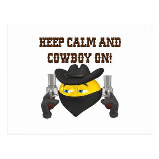 Guarde la calma y al vaquero encendido tarjetas postales