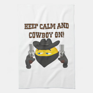 Guarde la calma y al vaquero encendido toallas de cocina