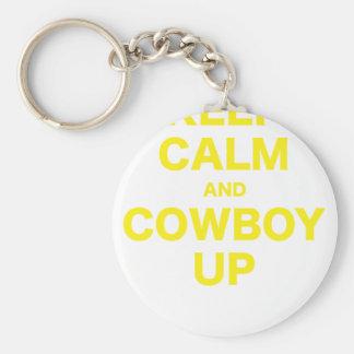 Guarde la calma y al vaquero para arriba llavero