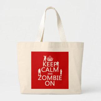 Guarde la calma y al zombi en (en cualquier color) bolsas de mano