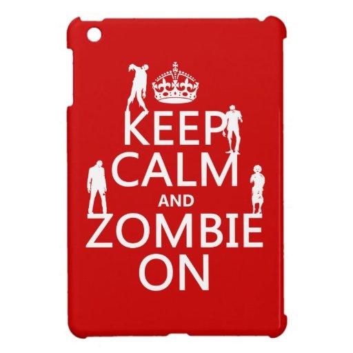 Guarde la calma y al zombi en (en cualquier color) iPad mini protectores