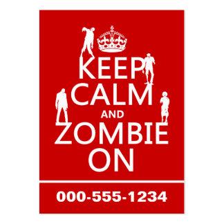 Guarde la calma y al zombi en (en cualquier color) plantilla de tarjeta personal