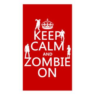 Guarde la calma y al zombi en (en cualquier color) plantilla de tarjeta de negocio