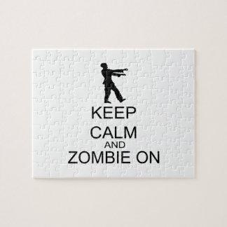 Guarde la calma y al zombi encendido rompecabezas