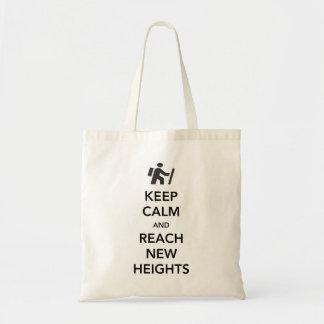 Guarde la calma y alcance las nuevas alturas bolsa de mano