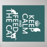 Guarde la calma y alimente el gato posters
