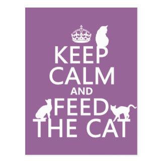 Guarde la calma y alimente el gato tarjeta postal