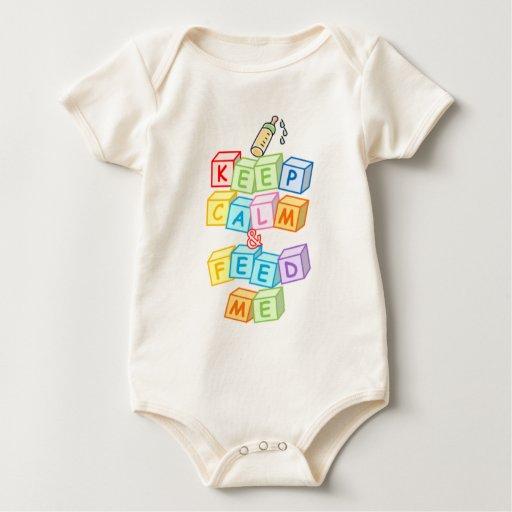 Guarde la calma y aliménteme (los bloques del mameluco de bebé