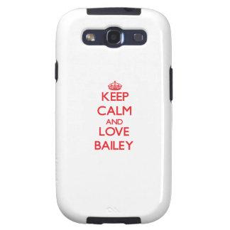 Guarde la calma y ame a Bailey Galaxy SIII Cárcasas