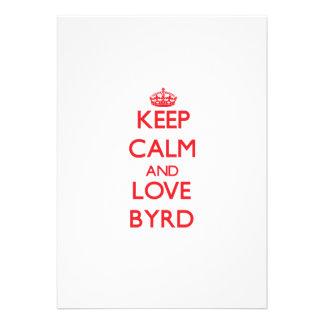 Guarde la calma y ame a Byrd Invitación