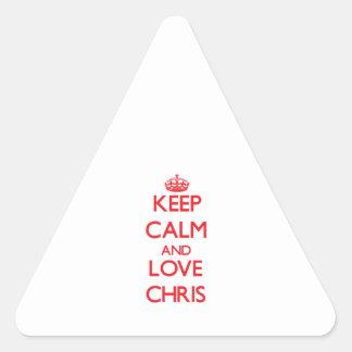 Guarde la calma y ame a Chris Calcomanías Trianguladas