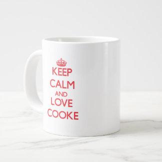Guarde la calma y ame a Cooke Tazas Extra Grande